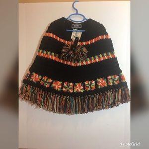 Handmade 100% wool poncho with Pom Pom tie